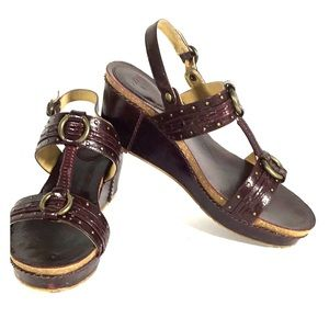 Frye Ivy O Ring Sling Wedge Sandals Cherry Size 9